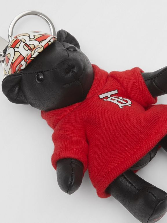 Thomas Bear Charm in Monogram Motif Hoodie in Black/red - Women | Burberry - cell image 1