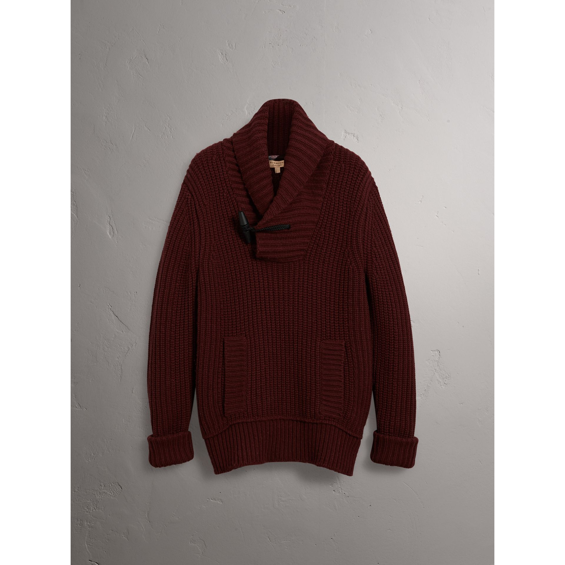 Shawl Collar Wool Cashmere Sweater in Mahogany Red - Men | Burberry United Kingdom - gallery image 3