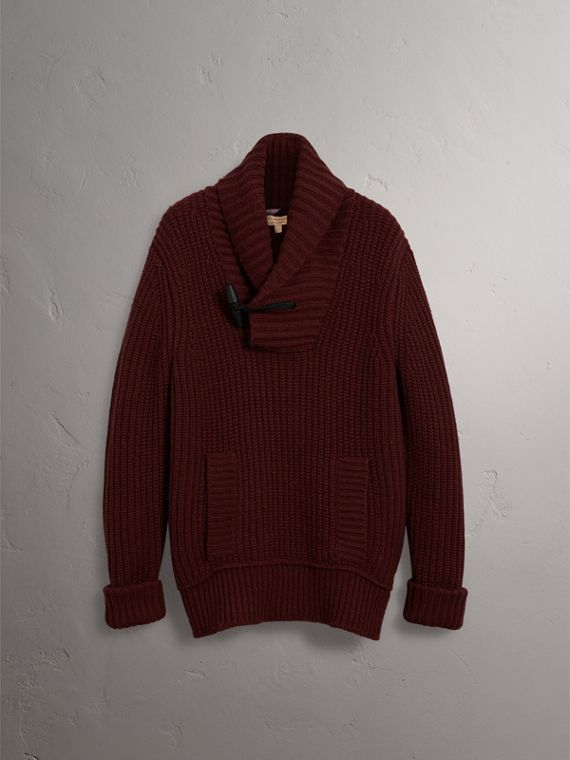 Shawl Collar Wool Cashmere Sweater in Mahogany Red - Men | Burberry United States - cell image 3
