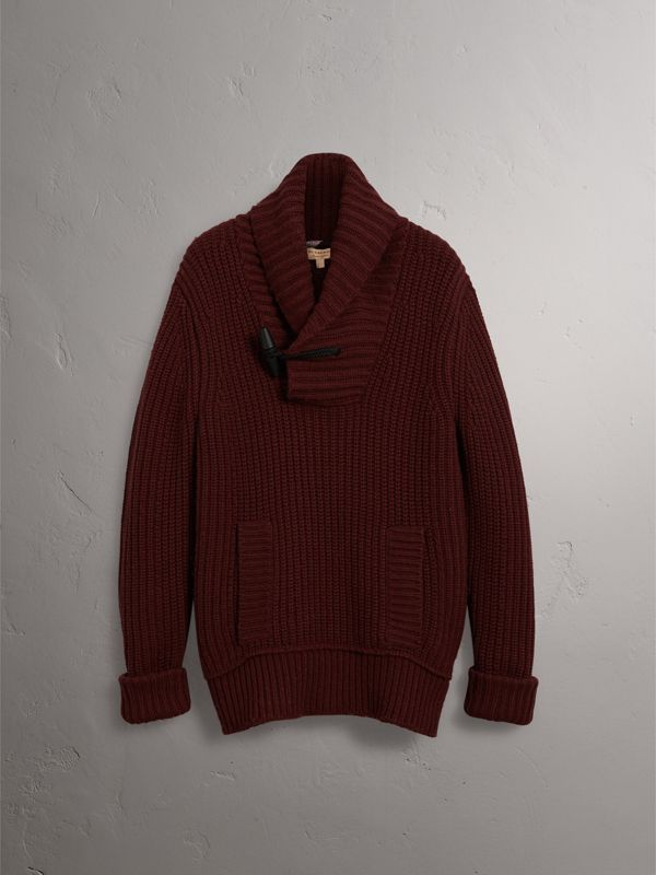 Shawl Collar Wool Cashmere Sweater in Mahogany Red - Men | Burberry - cell image 3