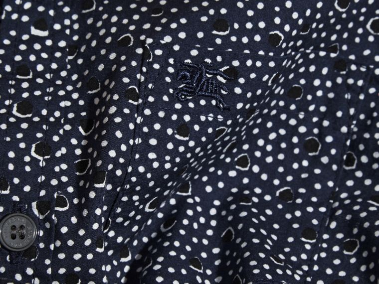 Navy Painterly Spot Print Cotton Shirt Navy - cell image 1