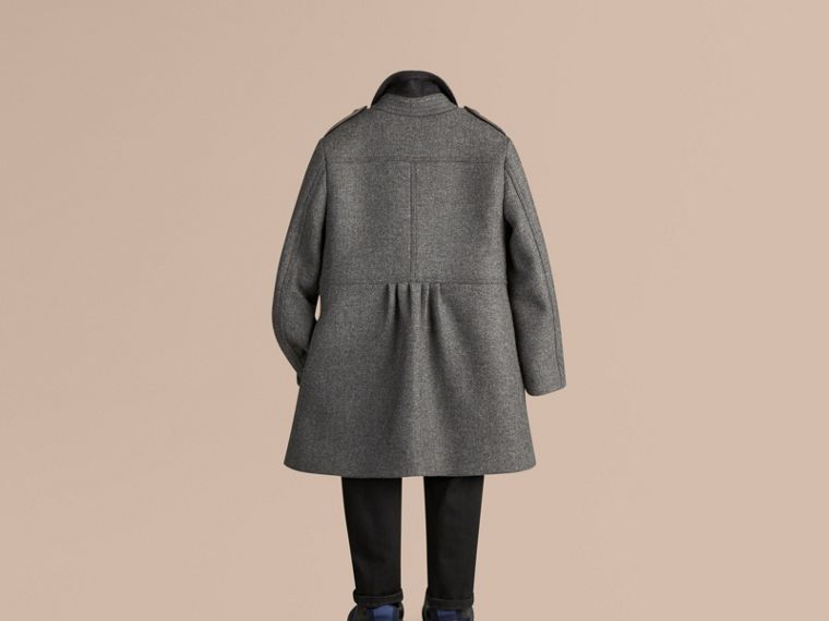 Mid grey melange Virgin Wool Cashmere Blend Military Coat Mid Grey Melange - cell image 2