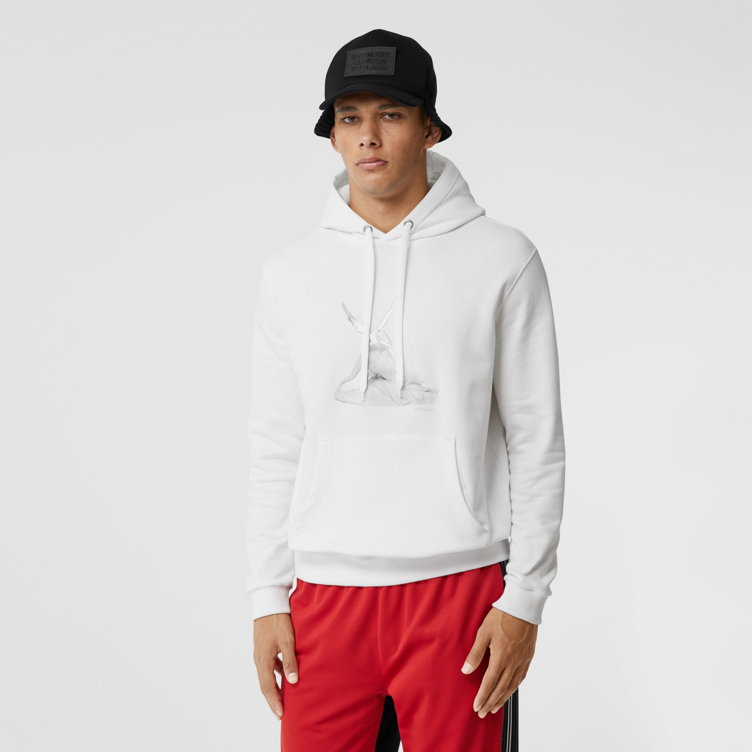 Cupid Print Cotton Oversized Hoodie in White - Men | Burberry - 1