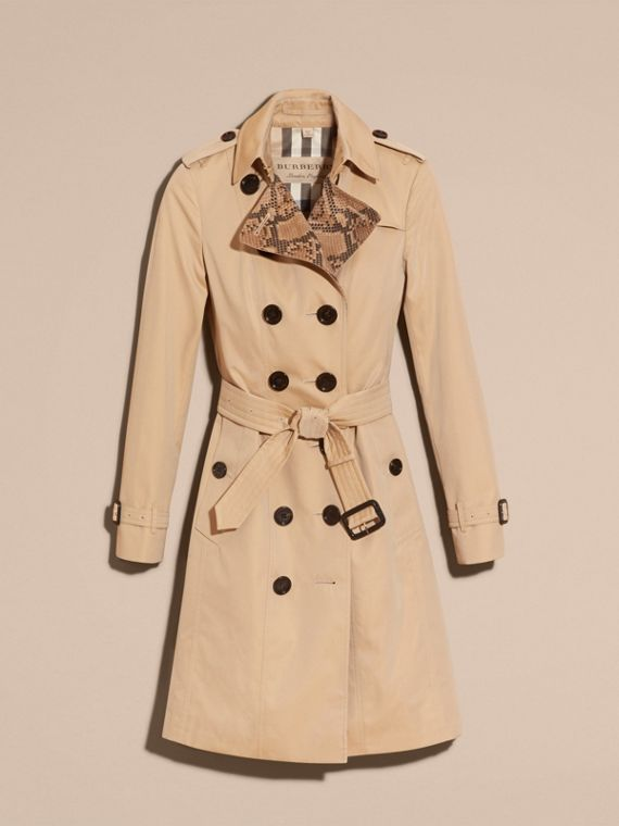 Honey Python Print Detail Cotton Gabardine Trench Coat - cell image 3