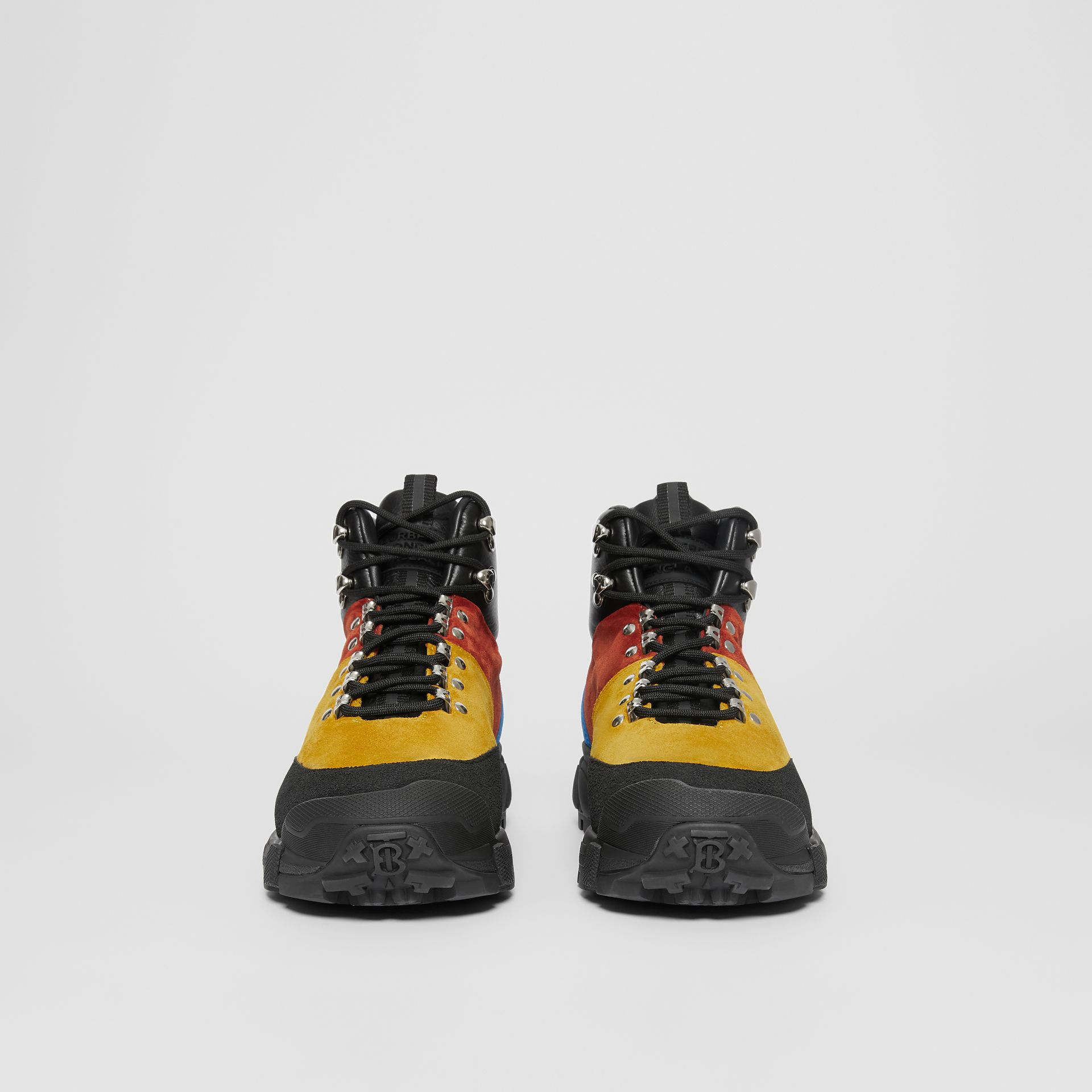 Suede and Leather Tor Boots in Yellow Orange - Men | Burberry United States - gallery image 3