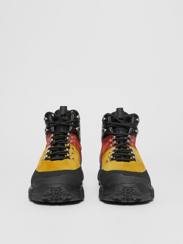 Suede and Leather Tor Boots in Yellow Orange - Men | Burberry - cell image 3