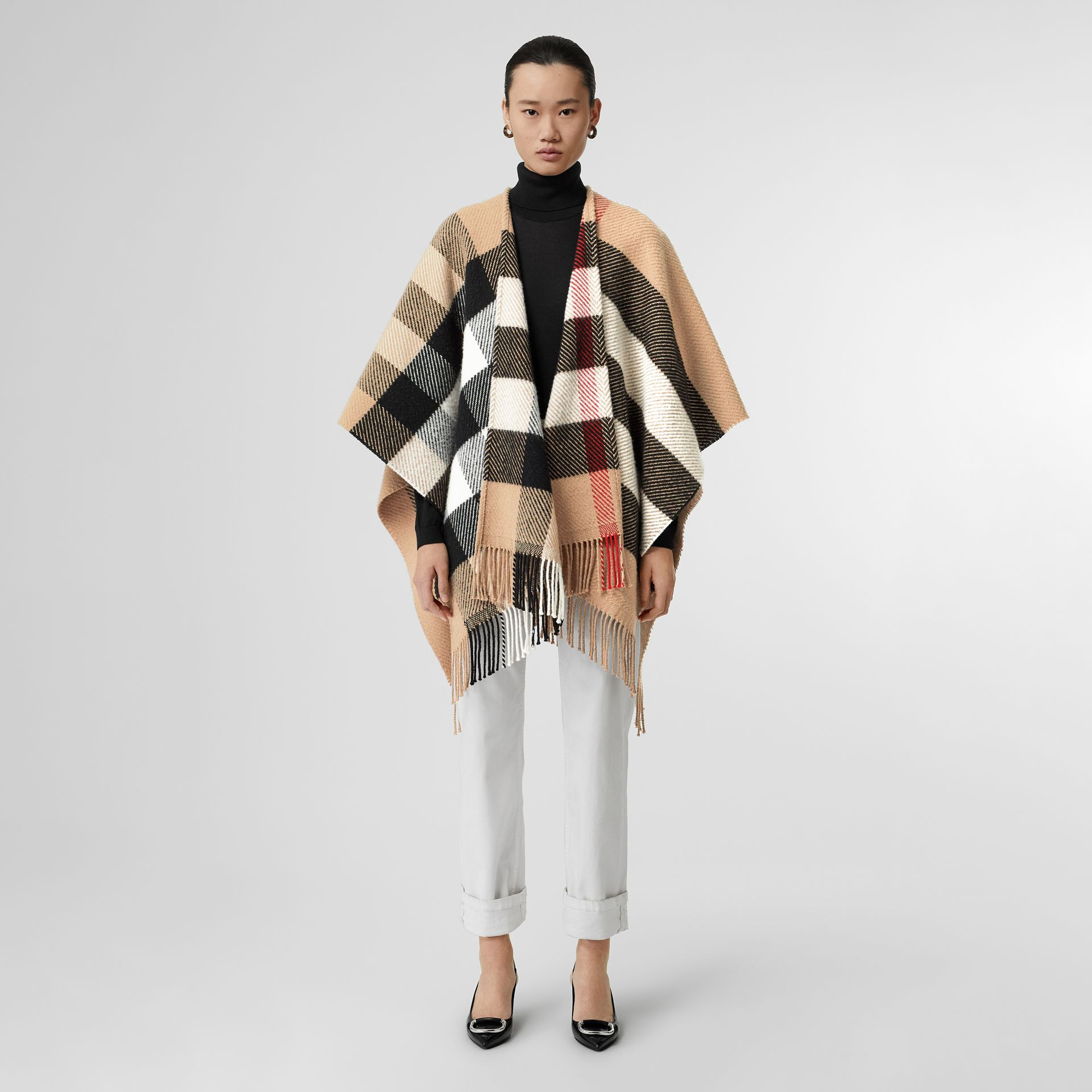Check Wool Cashmere Cape in Camel - Women | Burberry - gallery image 0