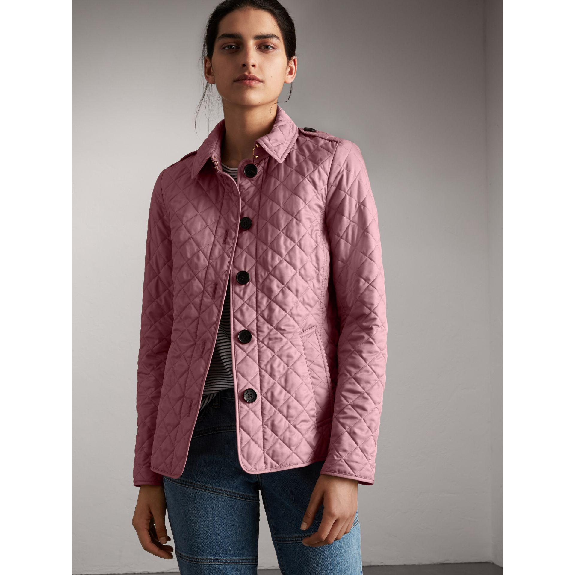 Diamond Quilted Jacket in Vintage Rose - Women | Burberry Canada - gallery image 1