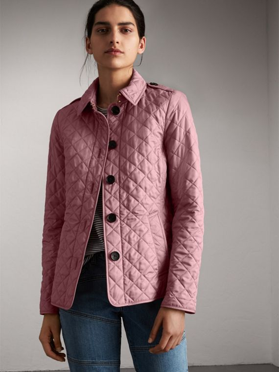 Diamond Quilted Jacket in Vintage Rose - Women | Burberry Singapore