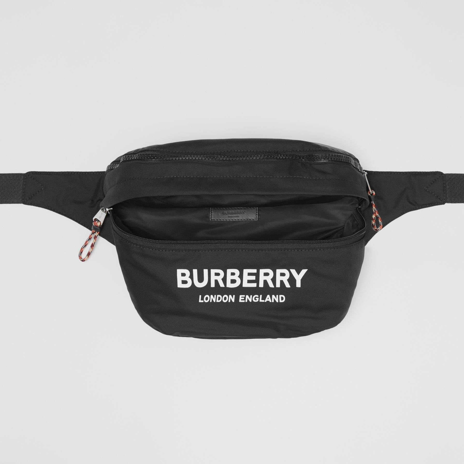 Logo Print Convertible Bum Bag in Black | Burberry Australia - gallery image 11