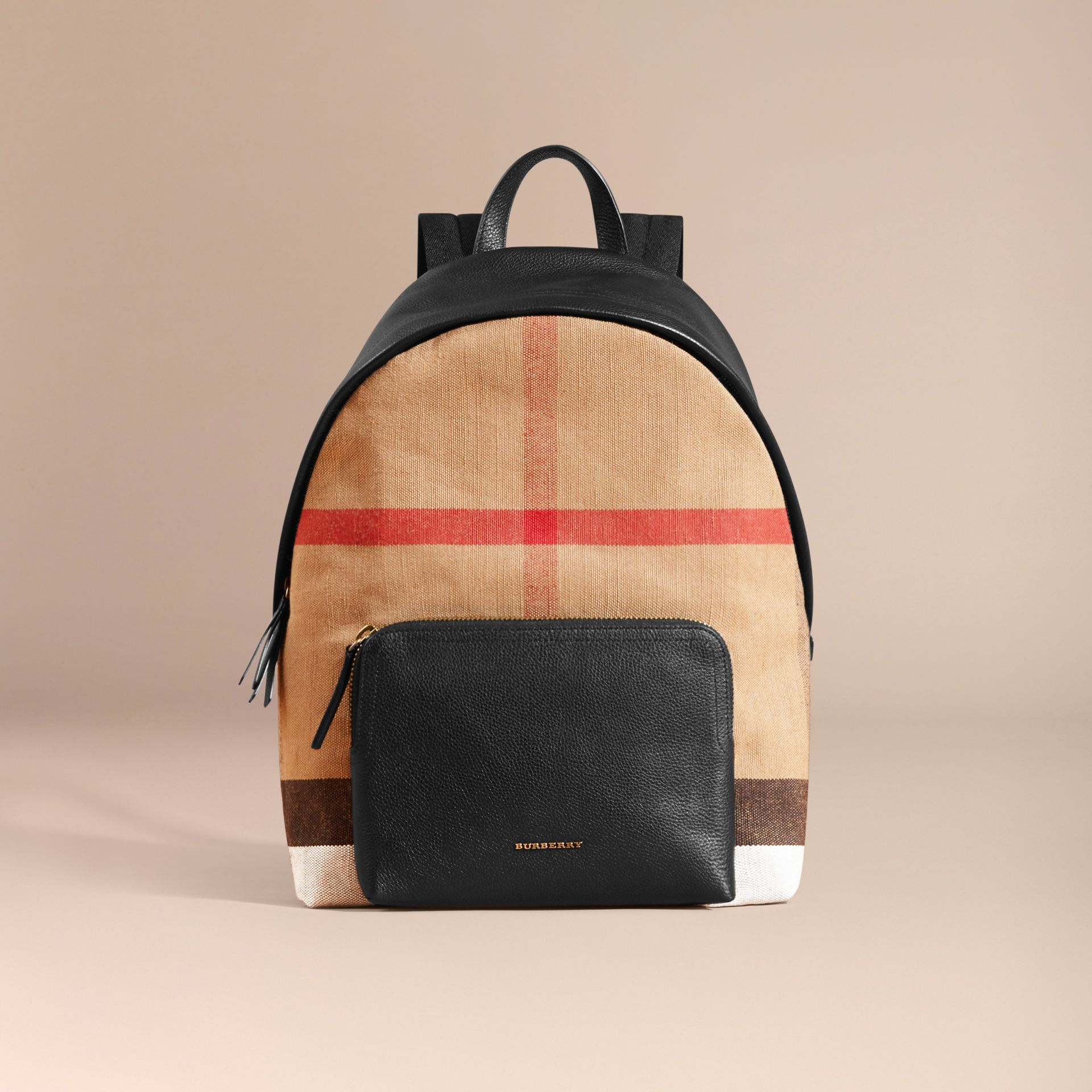 Canvas Check and Leather Backpack - gallery image 8