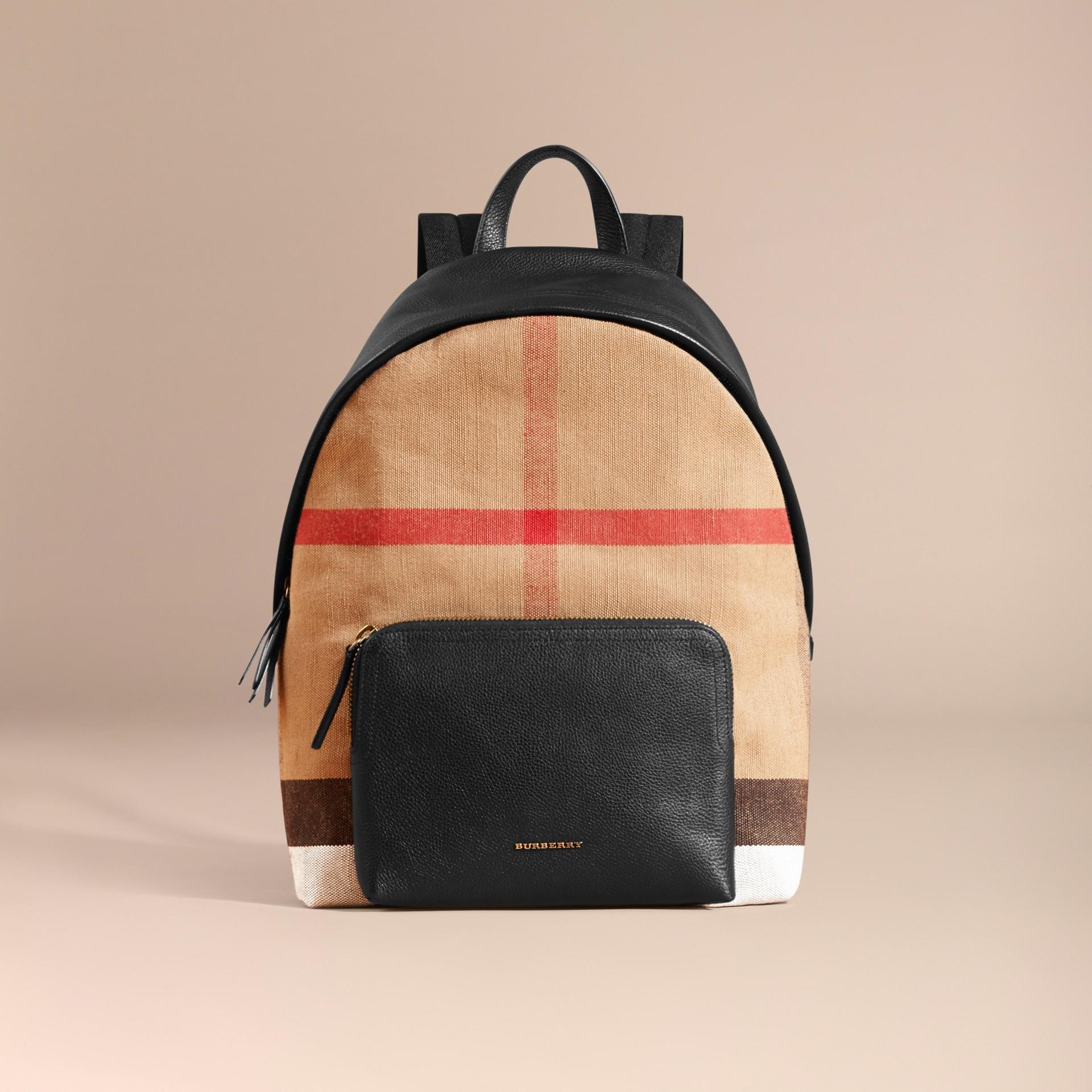 Schwarz Rucksack aus Canvas Check-Gewebe mit Lederbesatz - Galerie-Bild 8