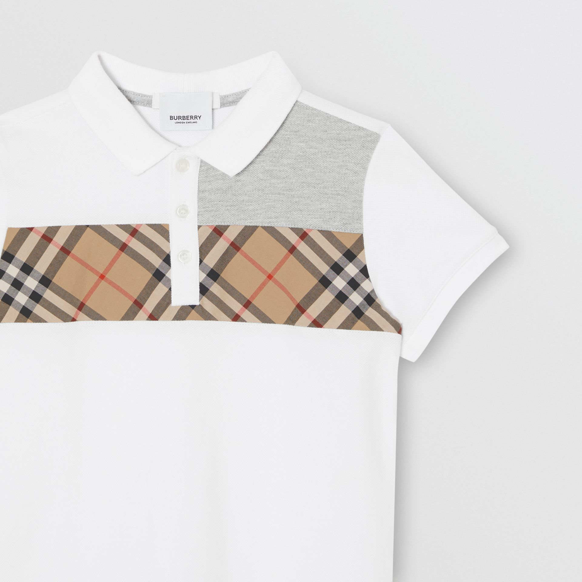 Vintage Check Panel Cotton Polo Shirt in White | Burberry United Kingdom - gallery image 4