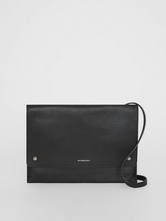 Leather Envelope Crossbody Bag in Black