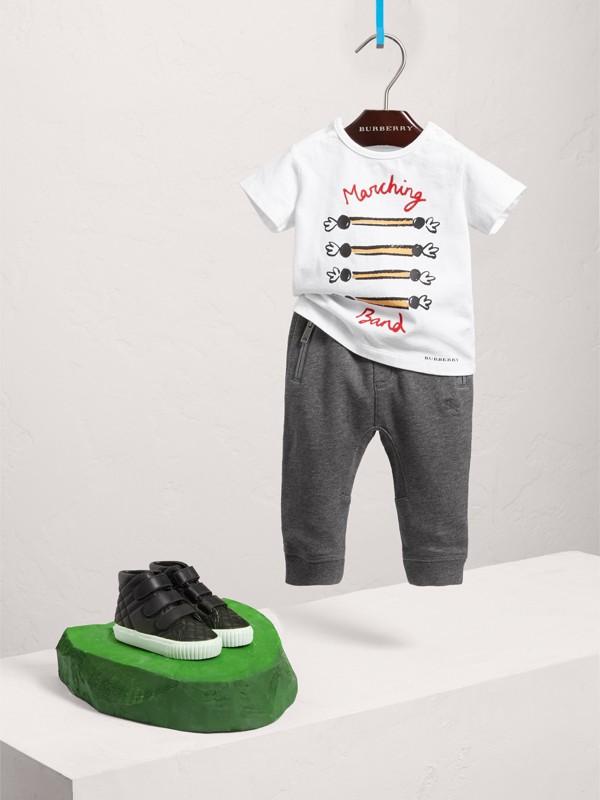 Pantaloni tuta in cotone con coulisse (Nero Fumo Mélange) | Burberry - cell image 2