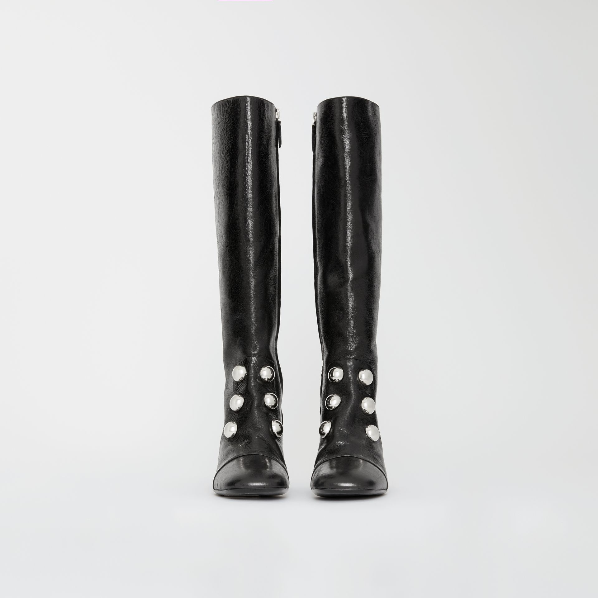 Stud Detail Leather Knee-high Boots in Black - Women | Burberry United States - gallery image 3