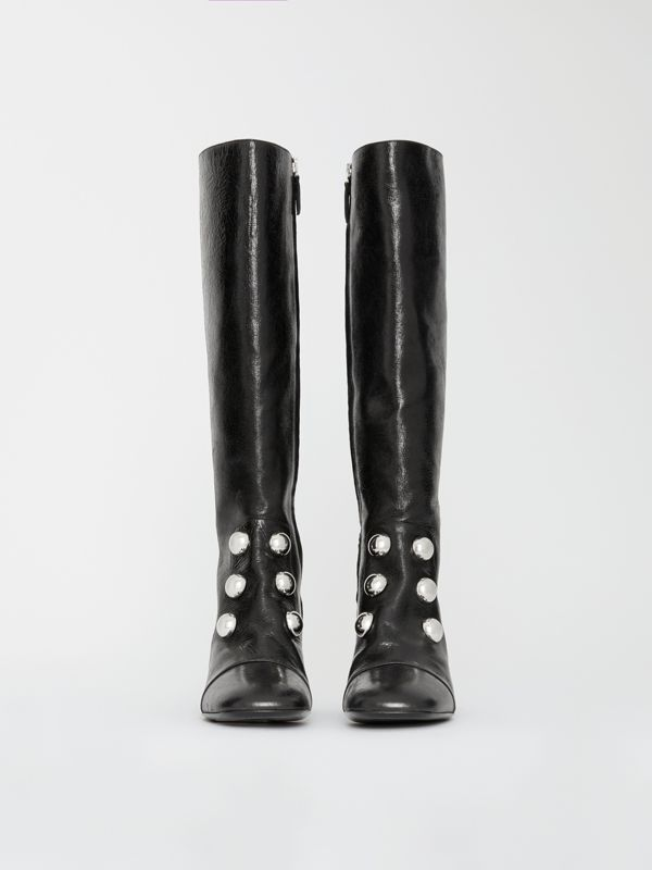 Stud Detail Leather Knee-high Boots in Black - Women | Burberry - cell image 3