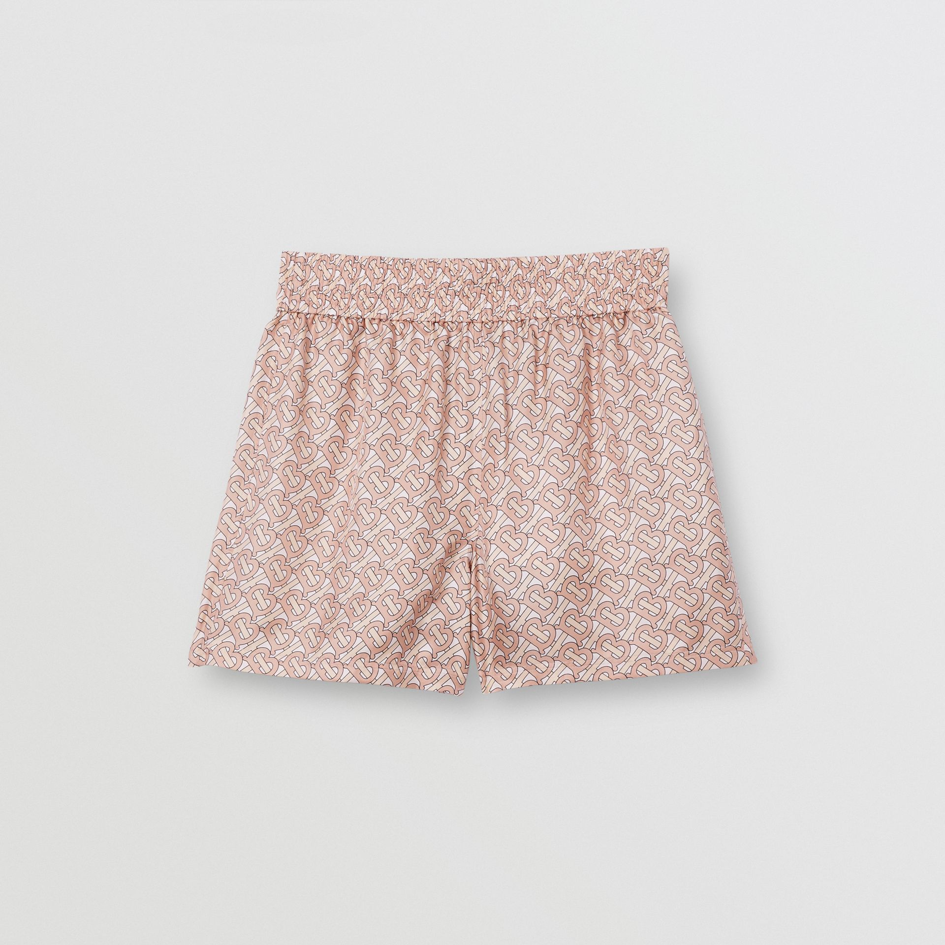 Monogram Print Silk Twill Shorts in Pale Copper Pink - Women | Burberry - gallery image 3