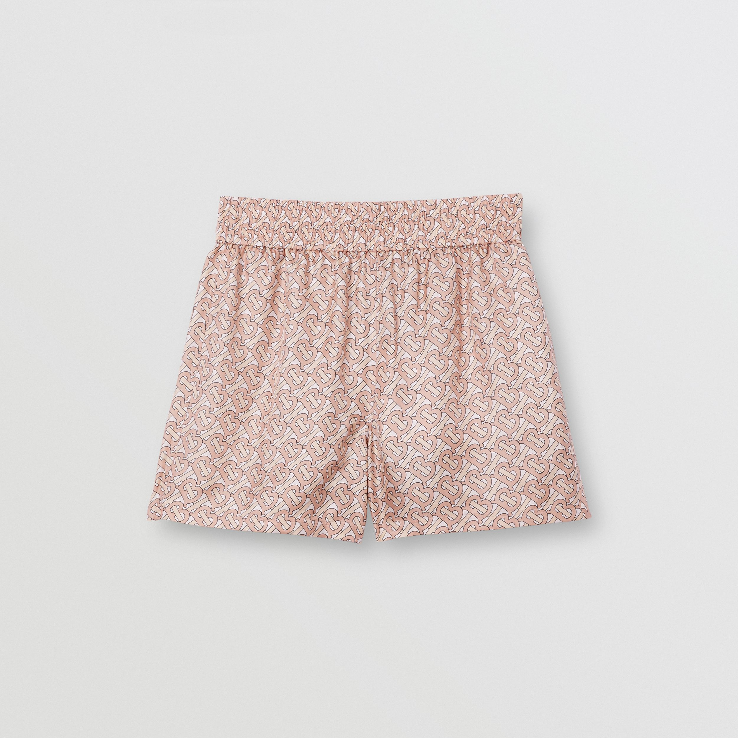 Monogram Print Silk Twill Shorts in Pale Copper Pink - Women | Burberry - 4
