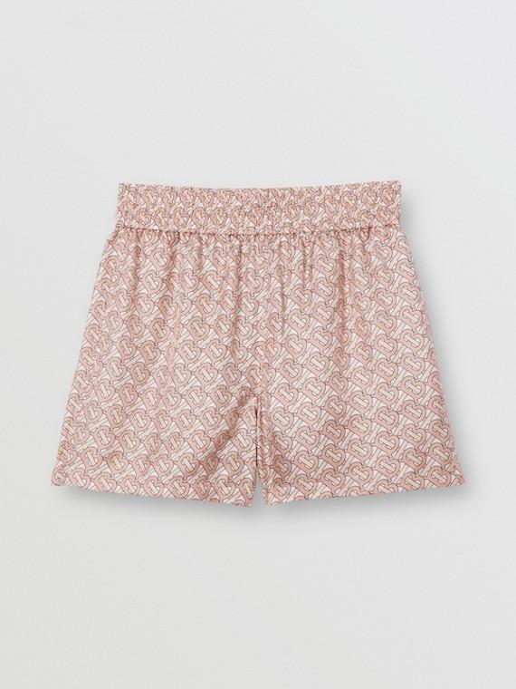 Monogram Print Silk Twill Shorts in Pale Copper Pink