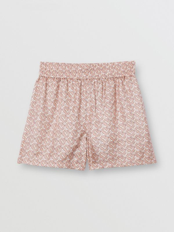 Monogram Print Silk Twill Shorts in Pale Copper Pink - Women | Burberry - cell image 3