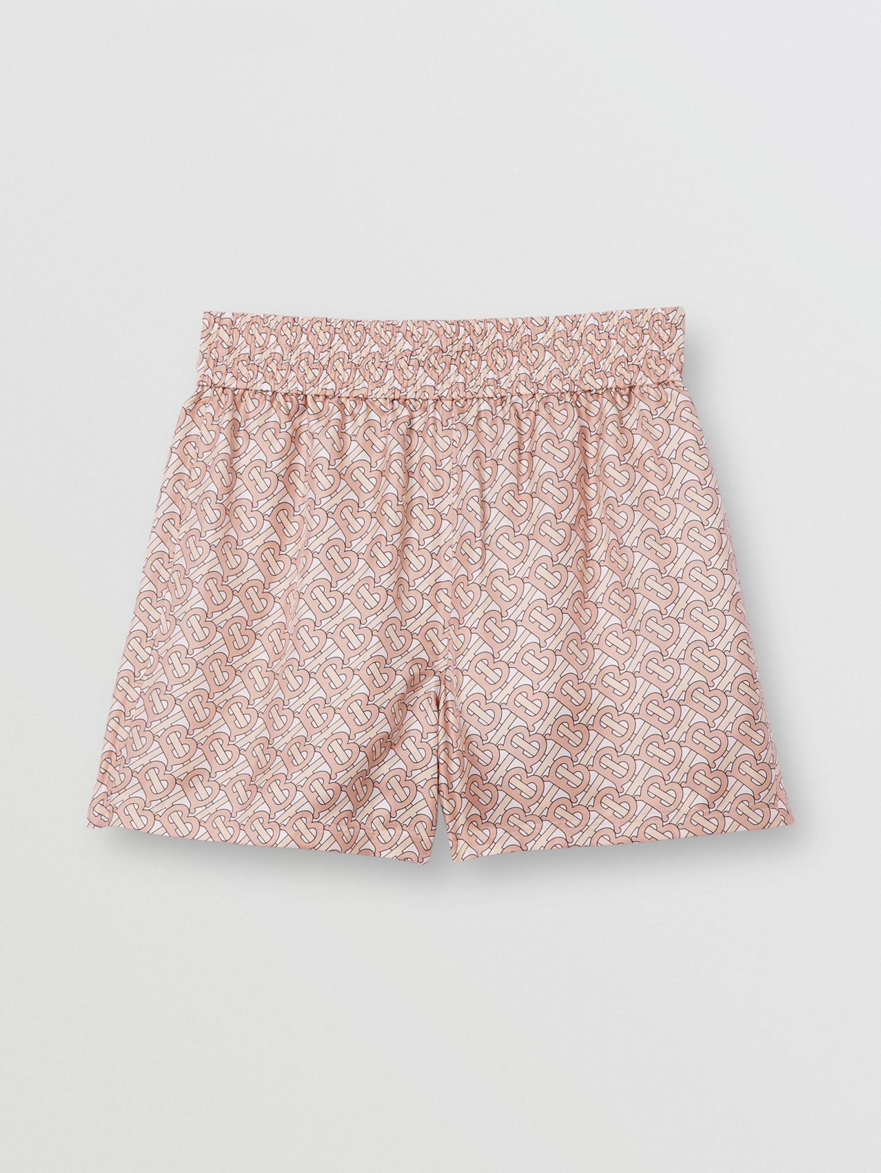 Monogram Print Silk Twill Shorts in Pale Copper Pink