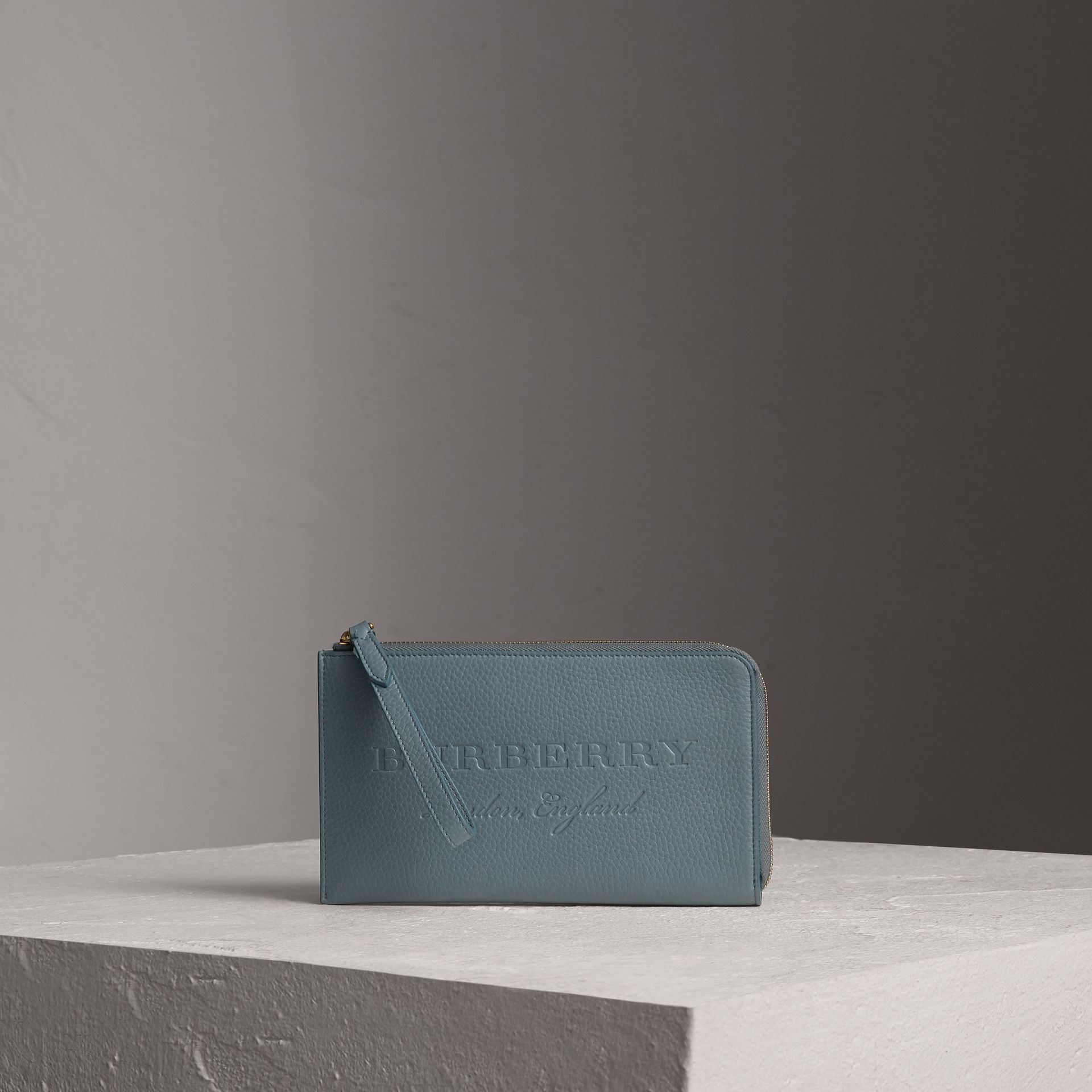 Embossed Leather Travel Wallet in Dusty Teal Blue | Burberry United Kingdom - gallery image 1
