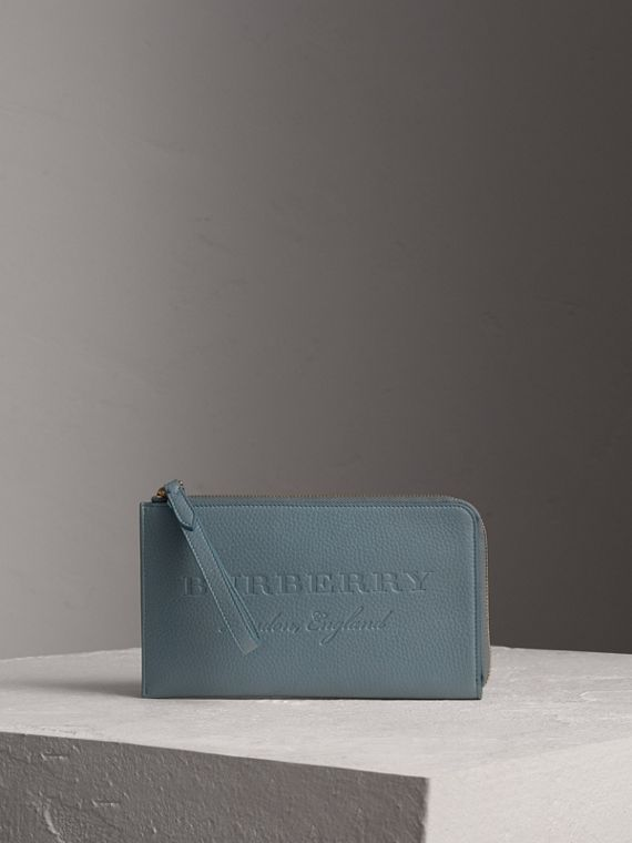 Embossed Leather Travel Wallet in Dusty Teal Blue