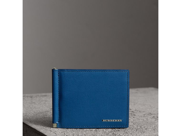 London Leather Money Clip Card Wallet in Deep Blue - Men | Burberry United Kingdom - cell image 4