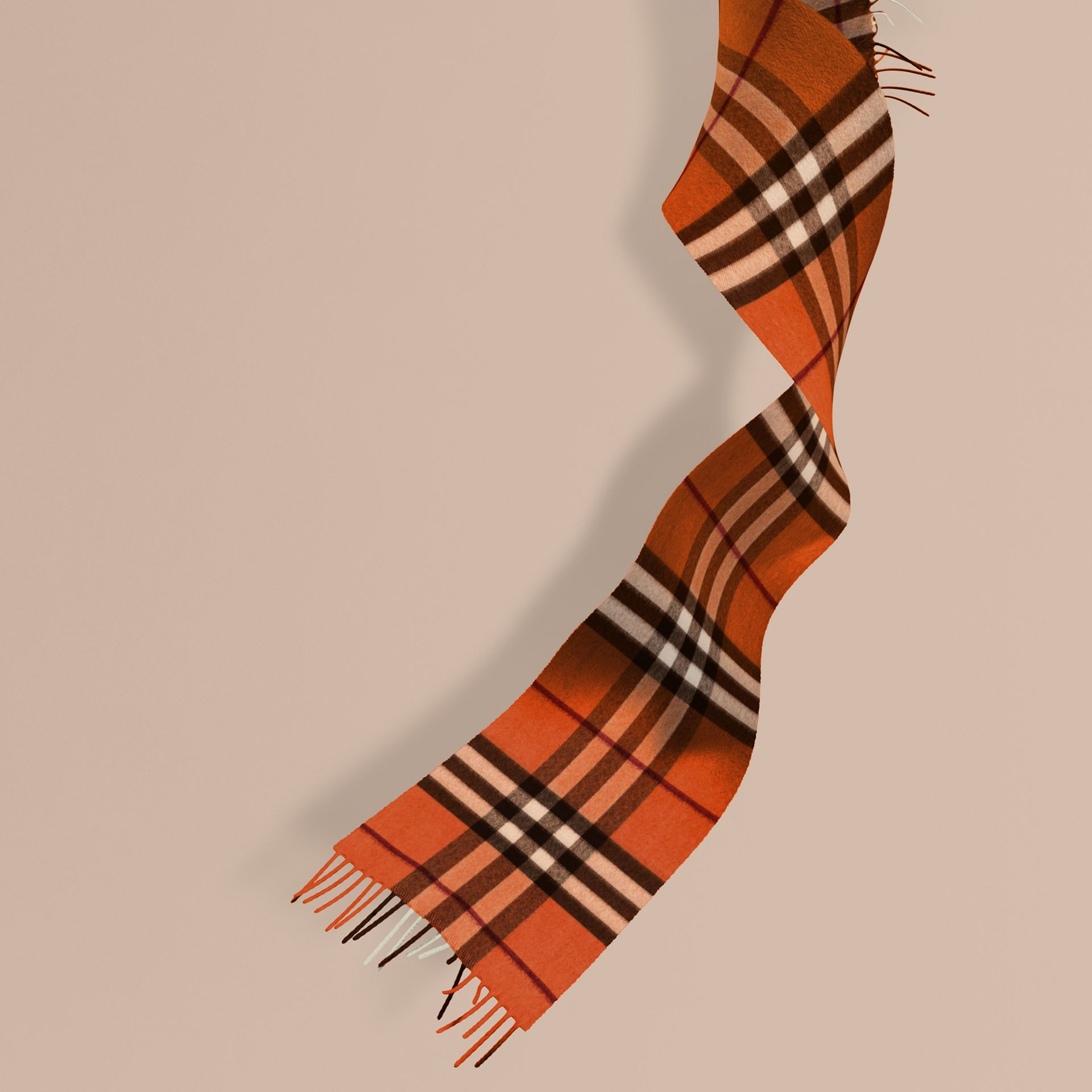 Burnt orange The Mini Classic Cashmere Scarf in Check Burnt Orange - gallery image 1