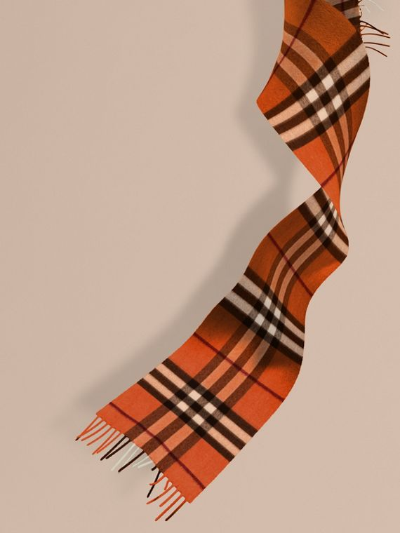 The Mini Classic Cashmere Scarf in Check in Burnt Orange | Burberry Canada