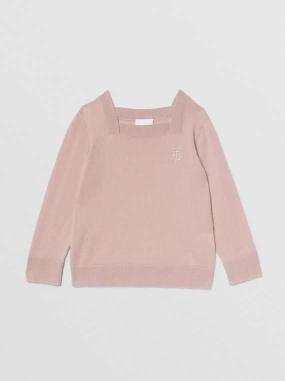 Monogram Motif Cashmere Sweater in Lavender Pink
