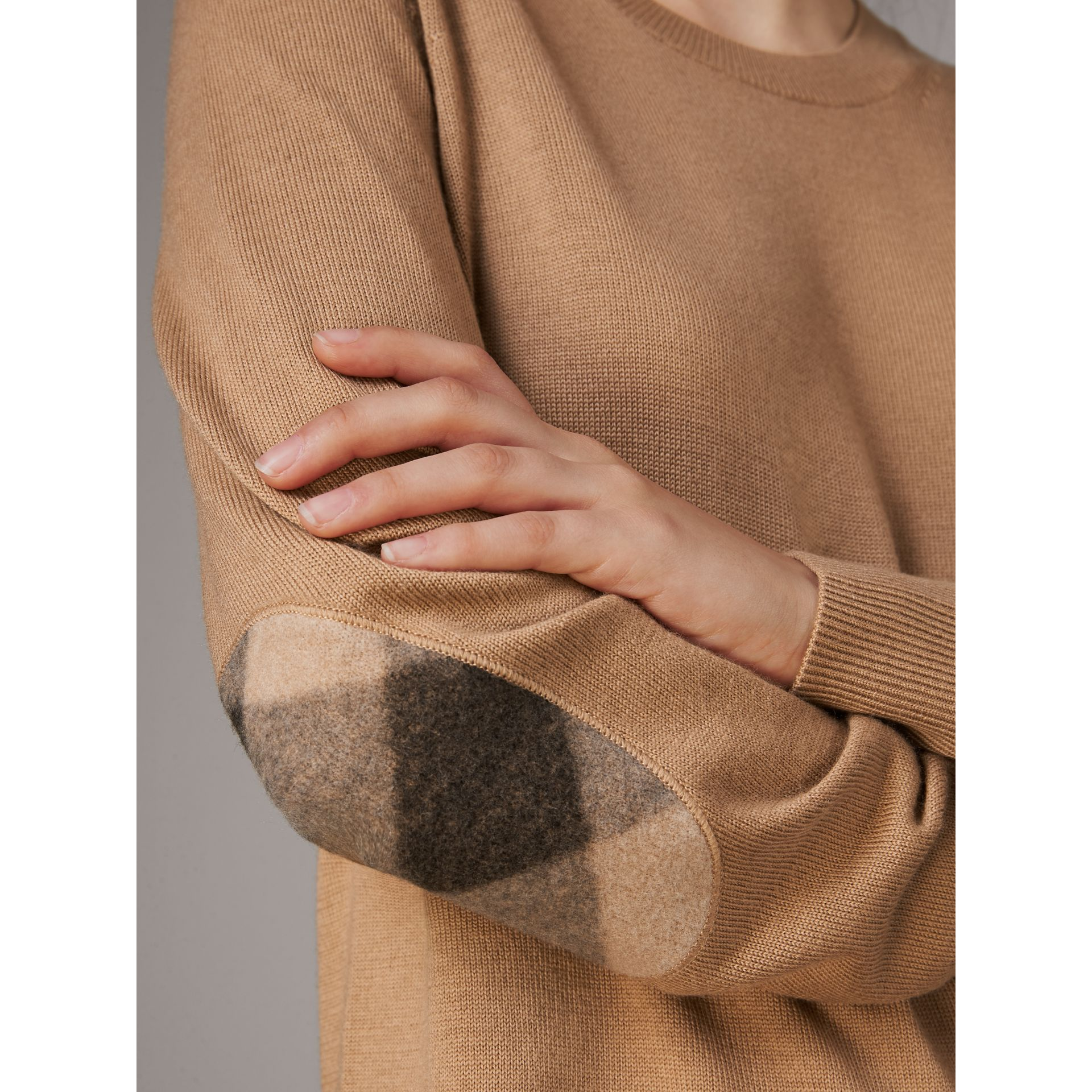 Check Elbow Detail Merino Wool Sweater Dress in Camel - Women | Burberry Canada - gallery image 1