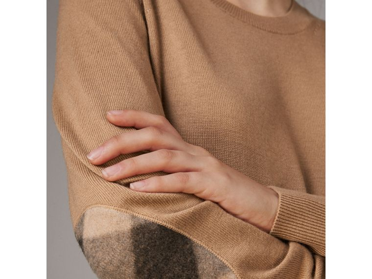 Check Elbow Detail Merino Wool Sweater Dress in Camel - Women | Burberry - cell image 1