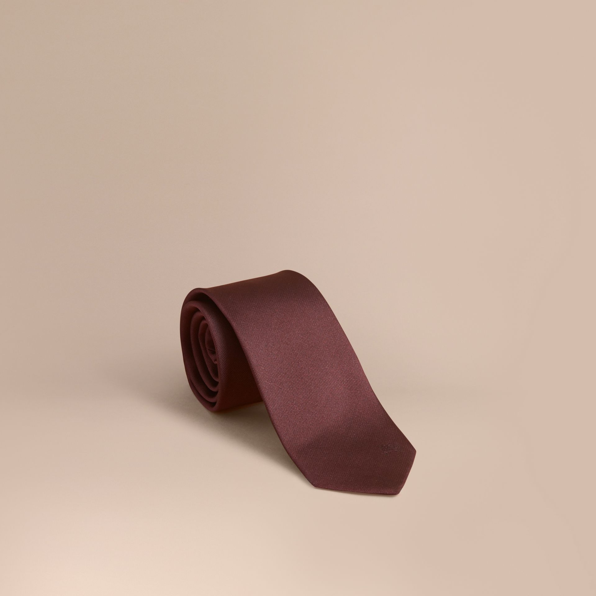 Modern Cut Silk Twill Tie in Deep Claret - Men | Burberry Australia - gallery image 1