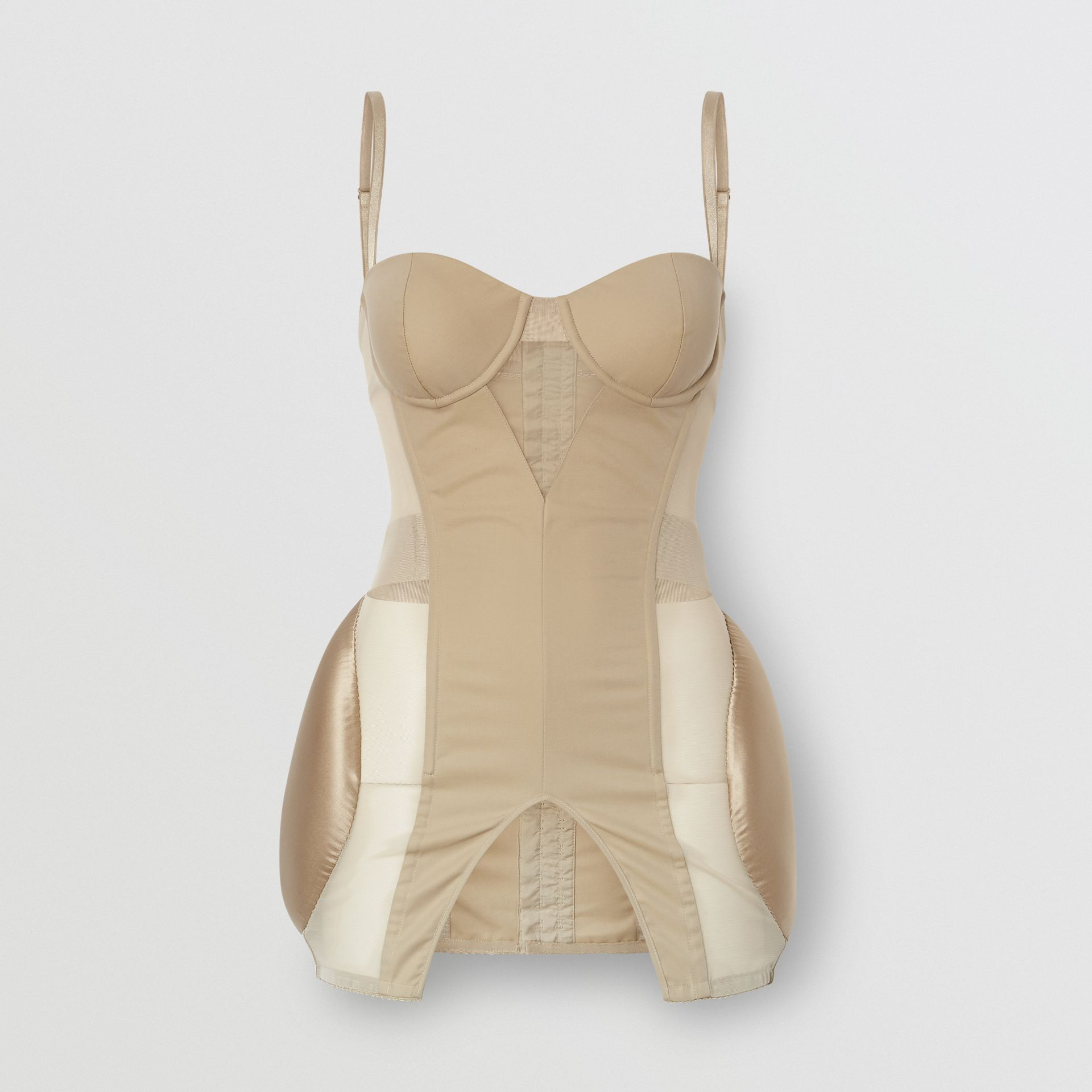 Silk Panel Cotton and Mesh Padded Corset in Pale Honey - Women | Burberry United Kingdom - gallery image 3