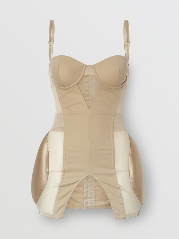 Silk Panel Cotton and Mesh Padded Corset in Pale Honey - Women | Burberry - cell image 3
