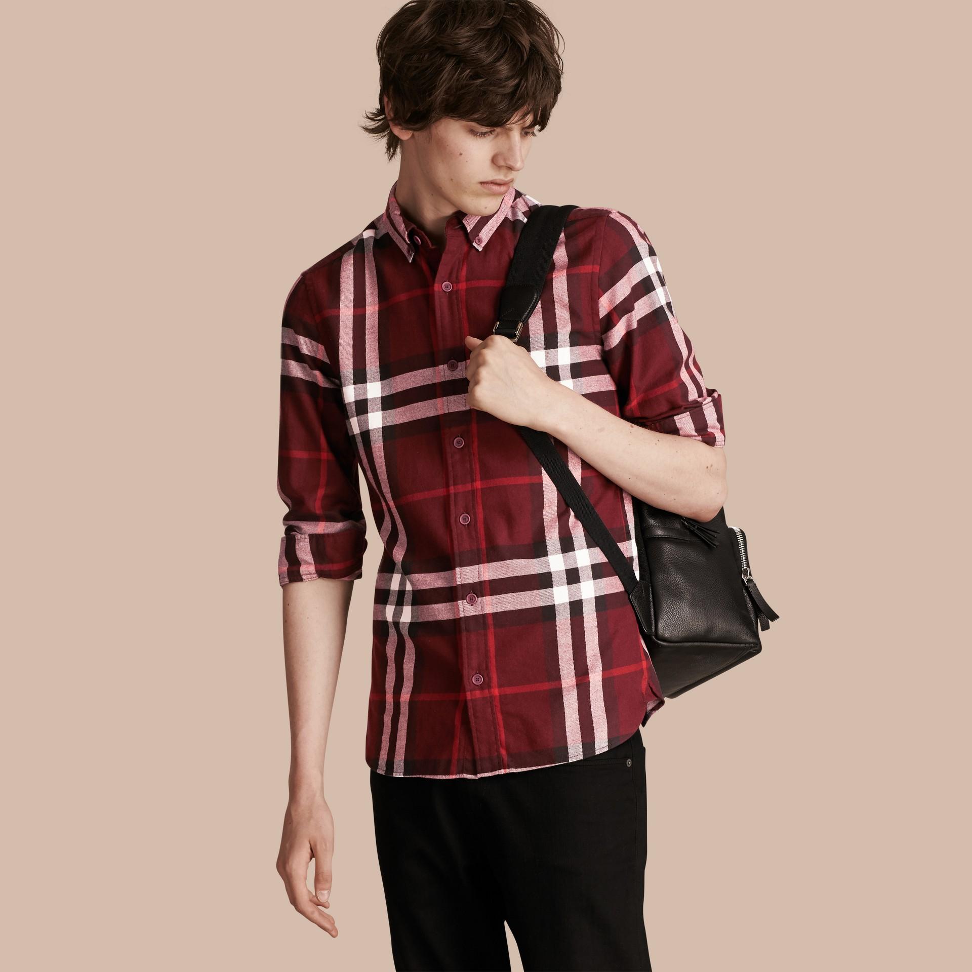 Weinrot Hemd aus Baumwollflanell mit Check-Muster Weinrot - Galerie-Bild 1