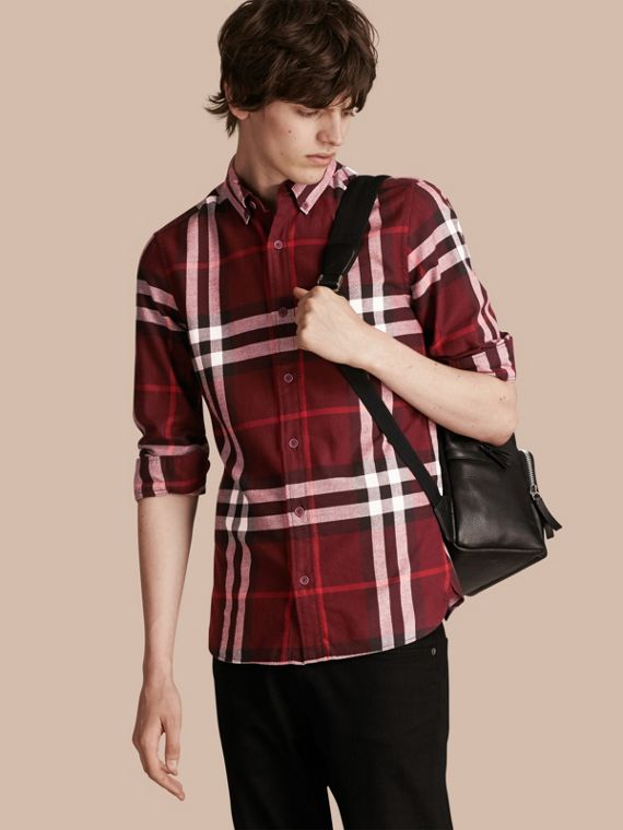 Check Cotton Flannel Shirt Claret
