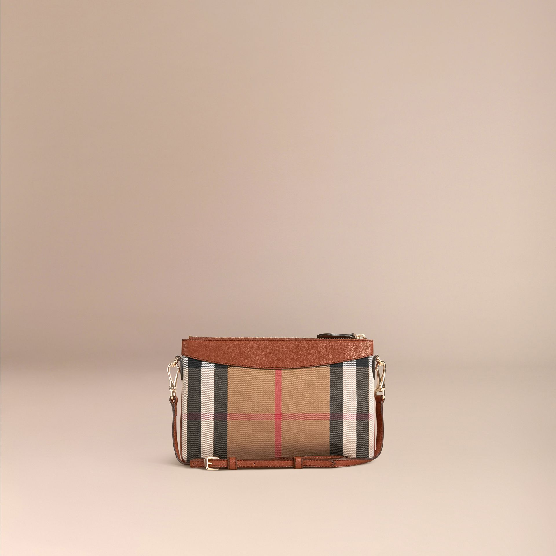 House Check and Leather Clutch Bag in Tan - Women | Burberry Canada - gallery image 4