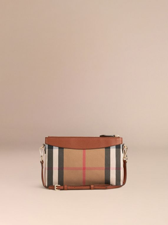 House Check and Leather Clutch Bag in Tan - cell image 3