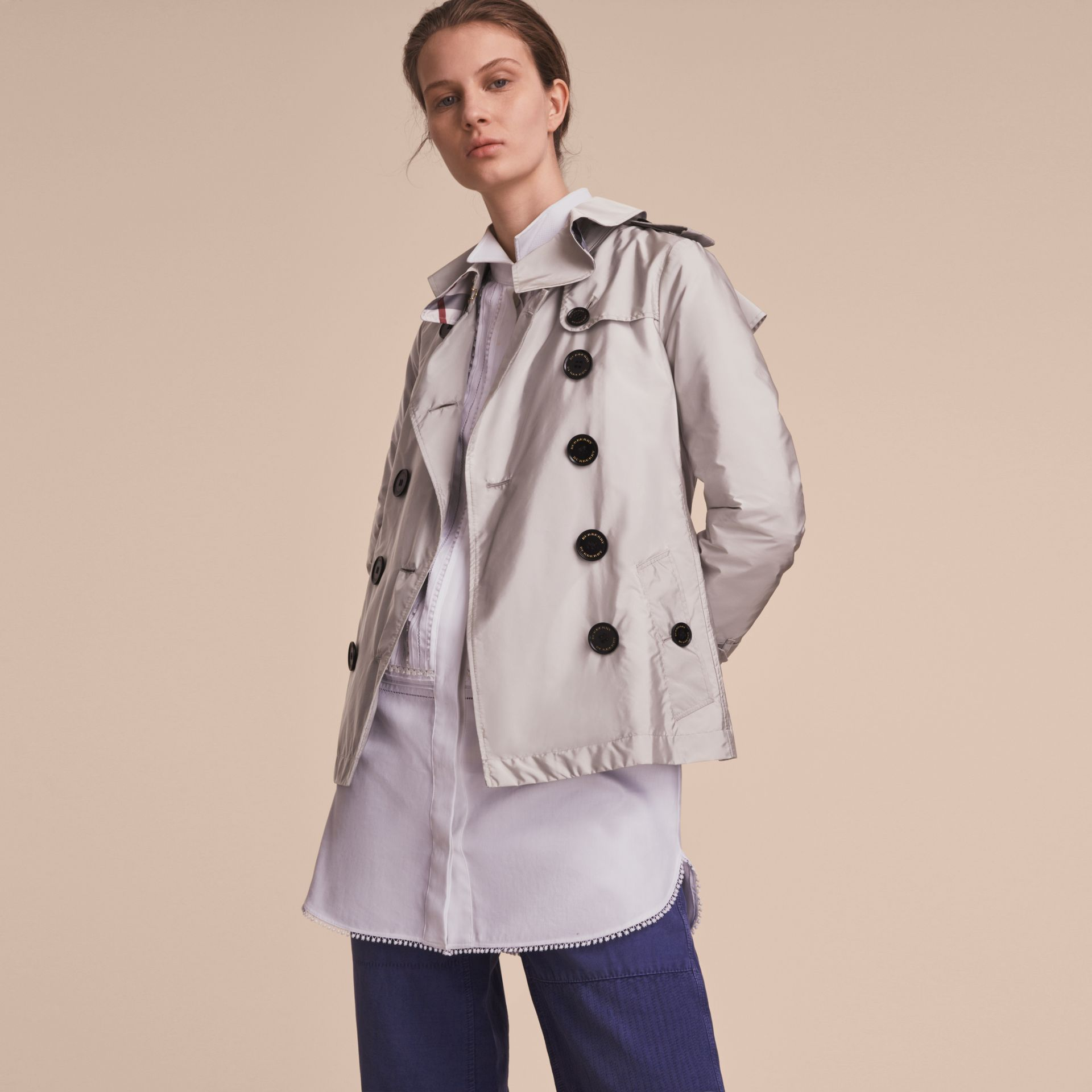 Showerproof Trench Coat Pale Grey - gallery image 6
