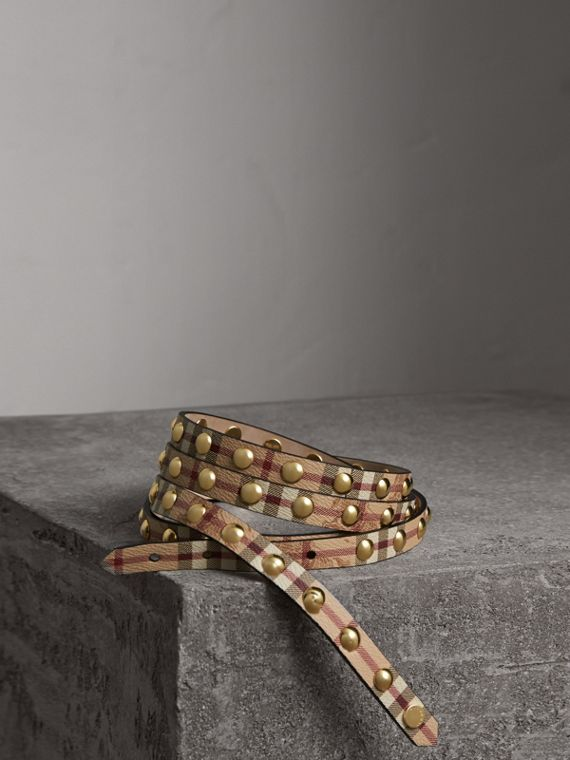 Studded Haymarket Check Double-wrap Belt
