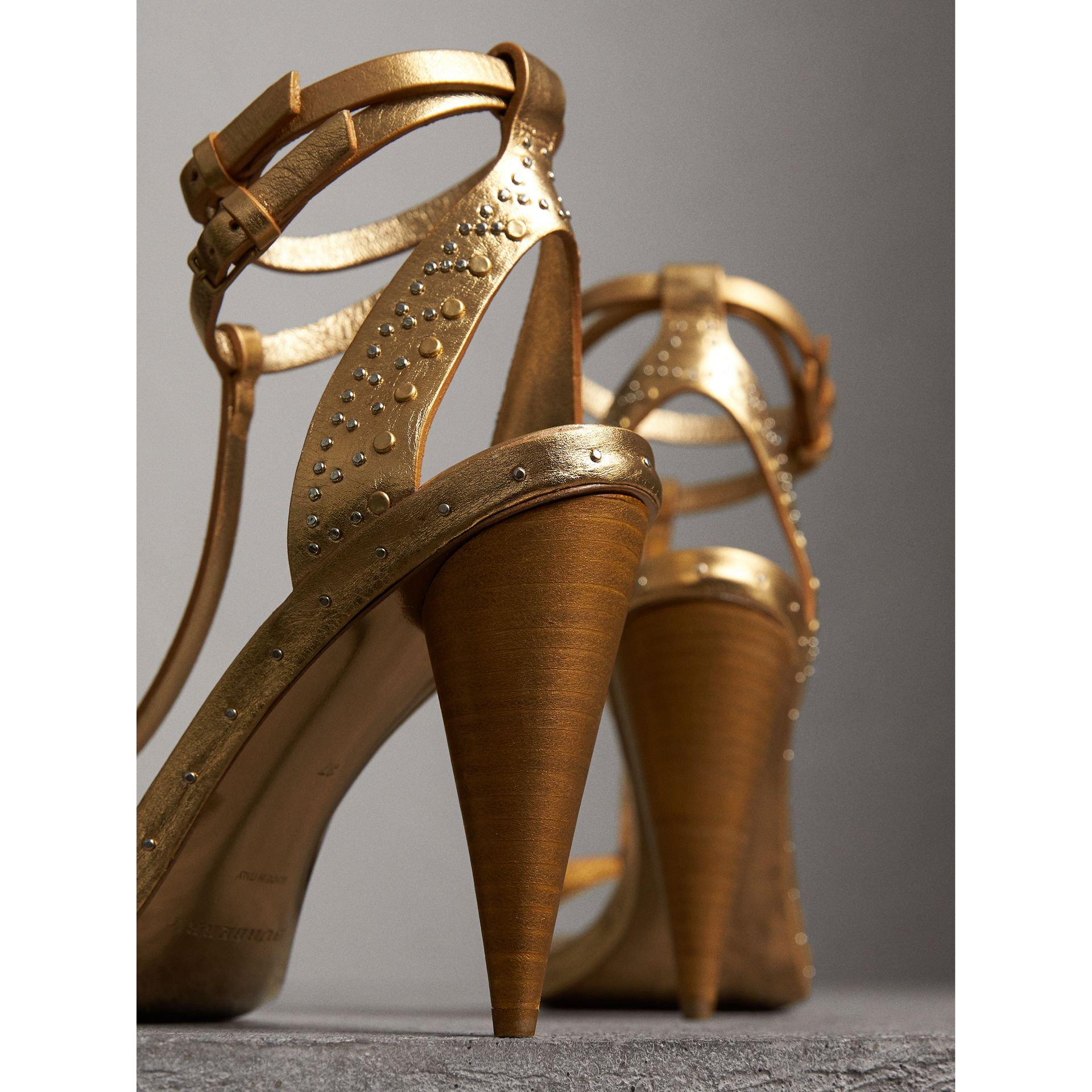 Riveted Metallic Leather High Cone-heel Sandals in Gold | Burberry Australia - gallery image 3