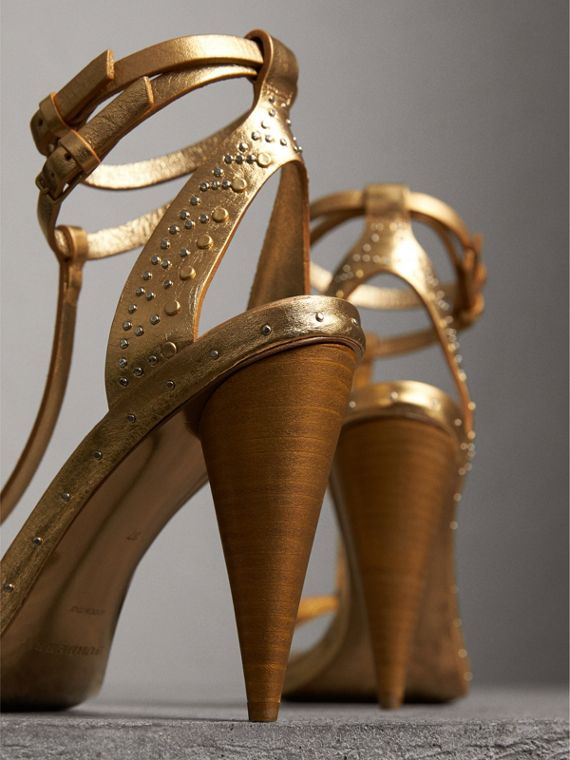 Riveted Metallic Leather Cone-heel Sandals in Gold | Burberry - cell image 3