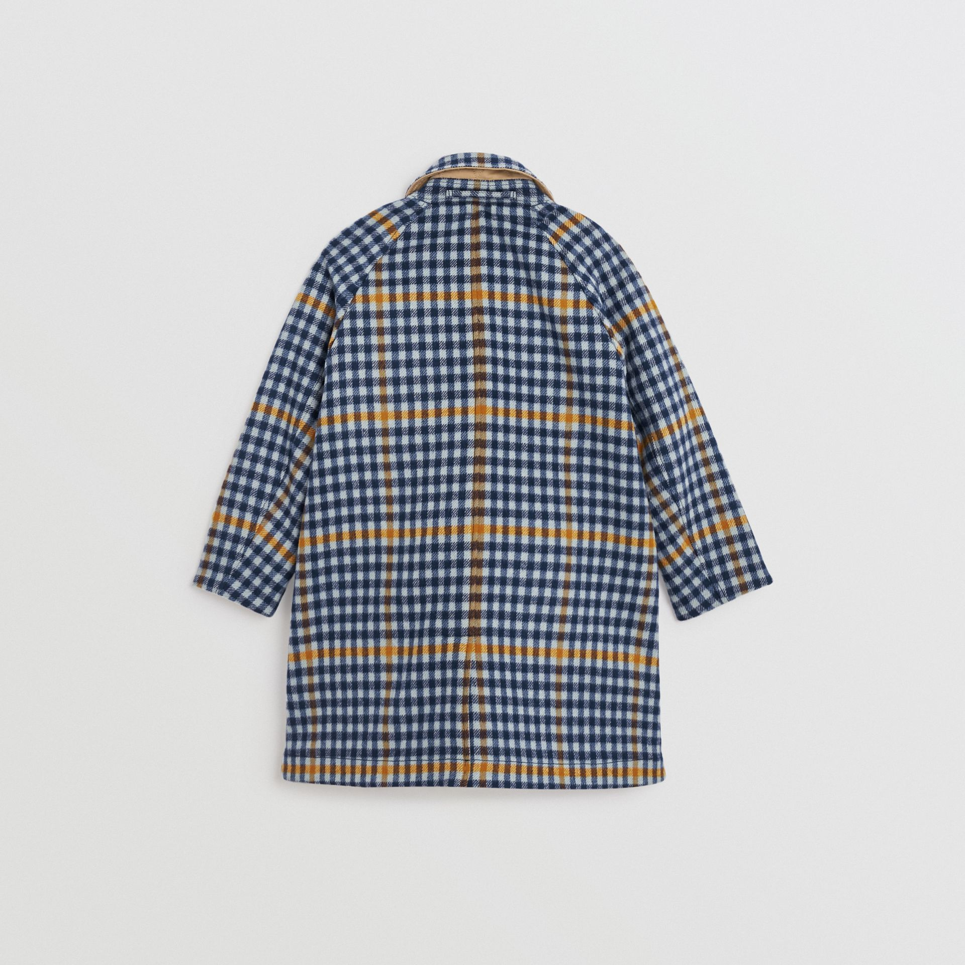 Reversible Check Wool and Cotton Car Coat in Canvas Blue | Burberry - gallery image 4