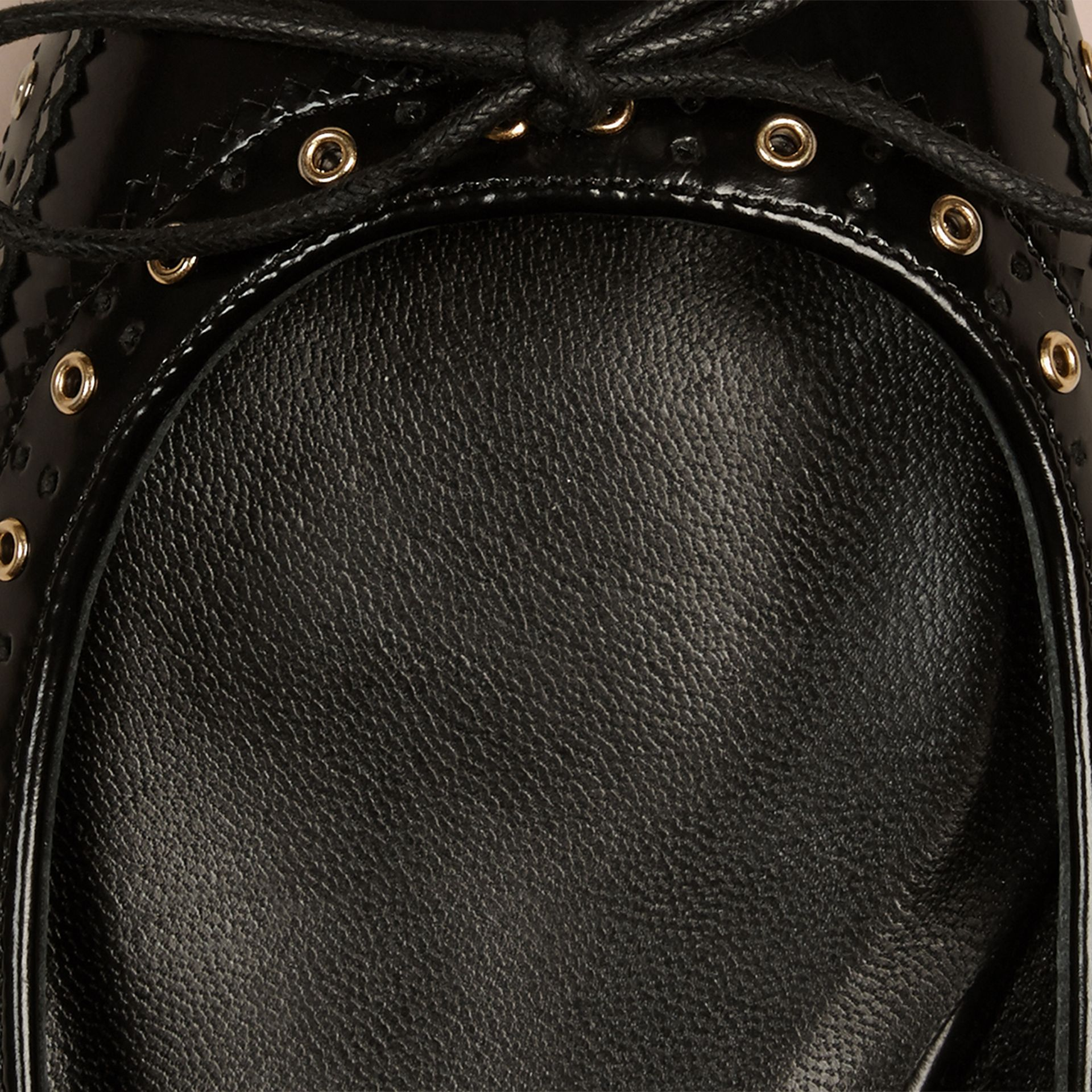 Black Online Exclusive Wingtip Leather Ballerinas - gallery image 2