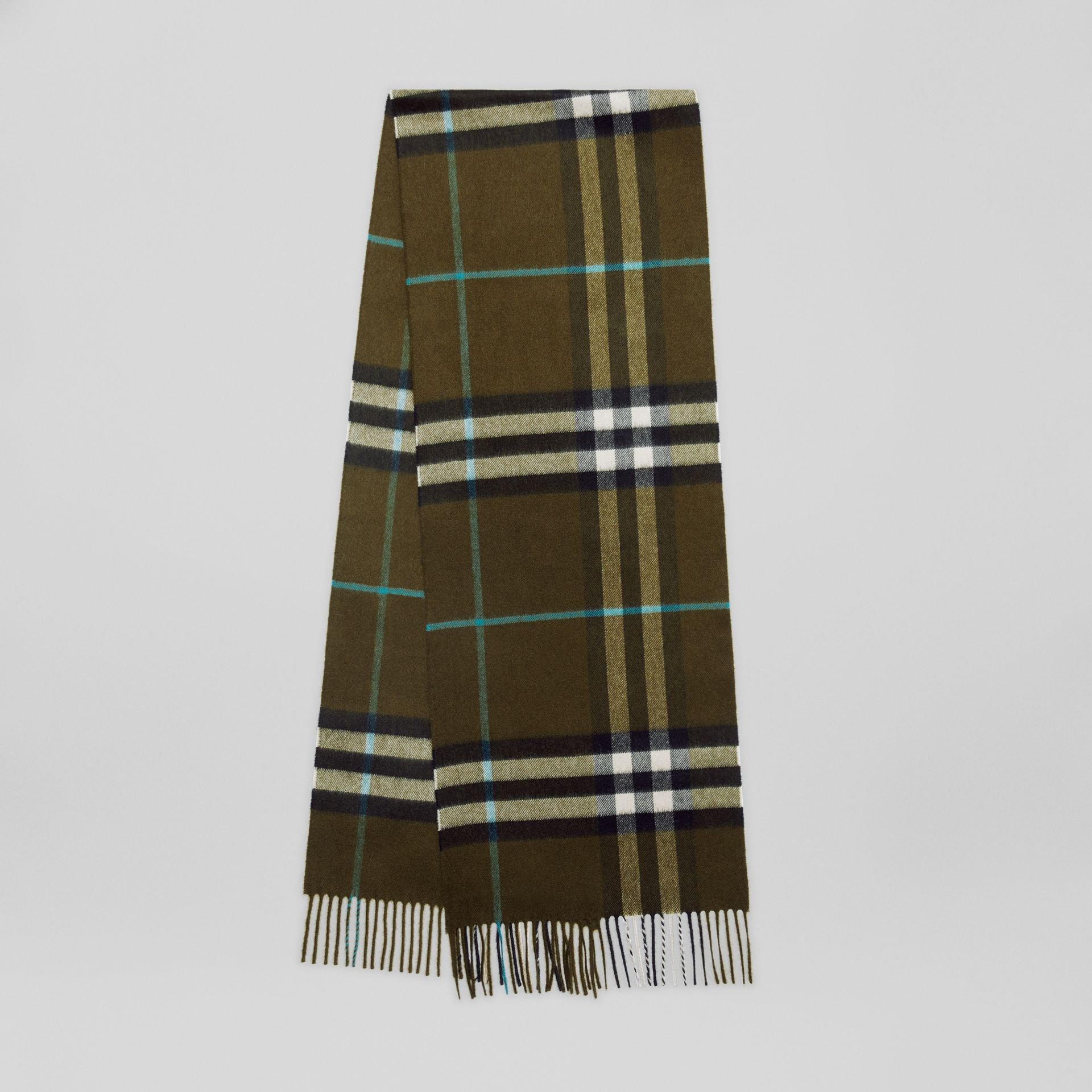 The Classic Check Cashmere Scarf in Antique Green | Burberry - gallery image 0