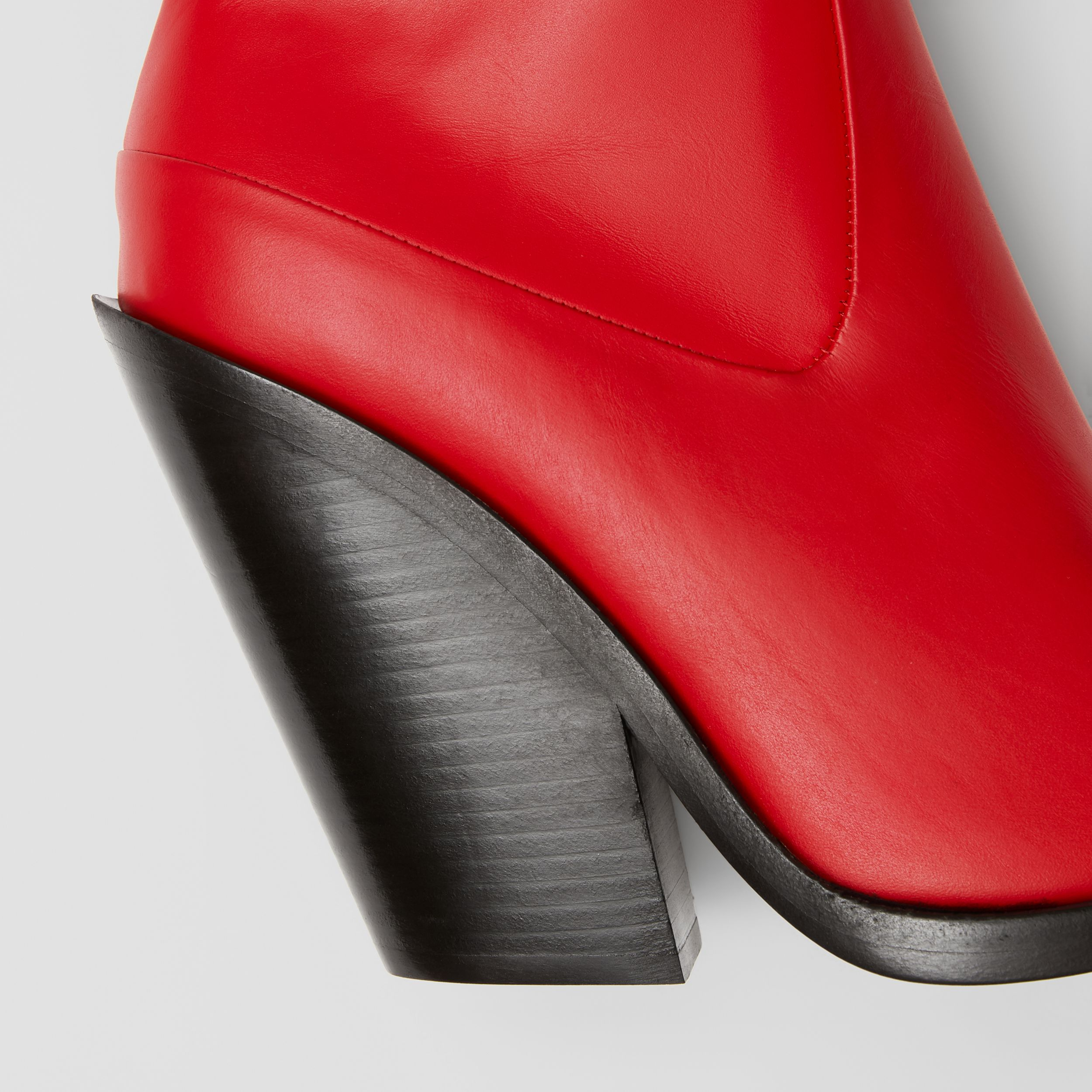 Leather Block-heel Ankle Boots in Bright Red - Women | Burberry - 2