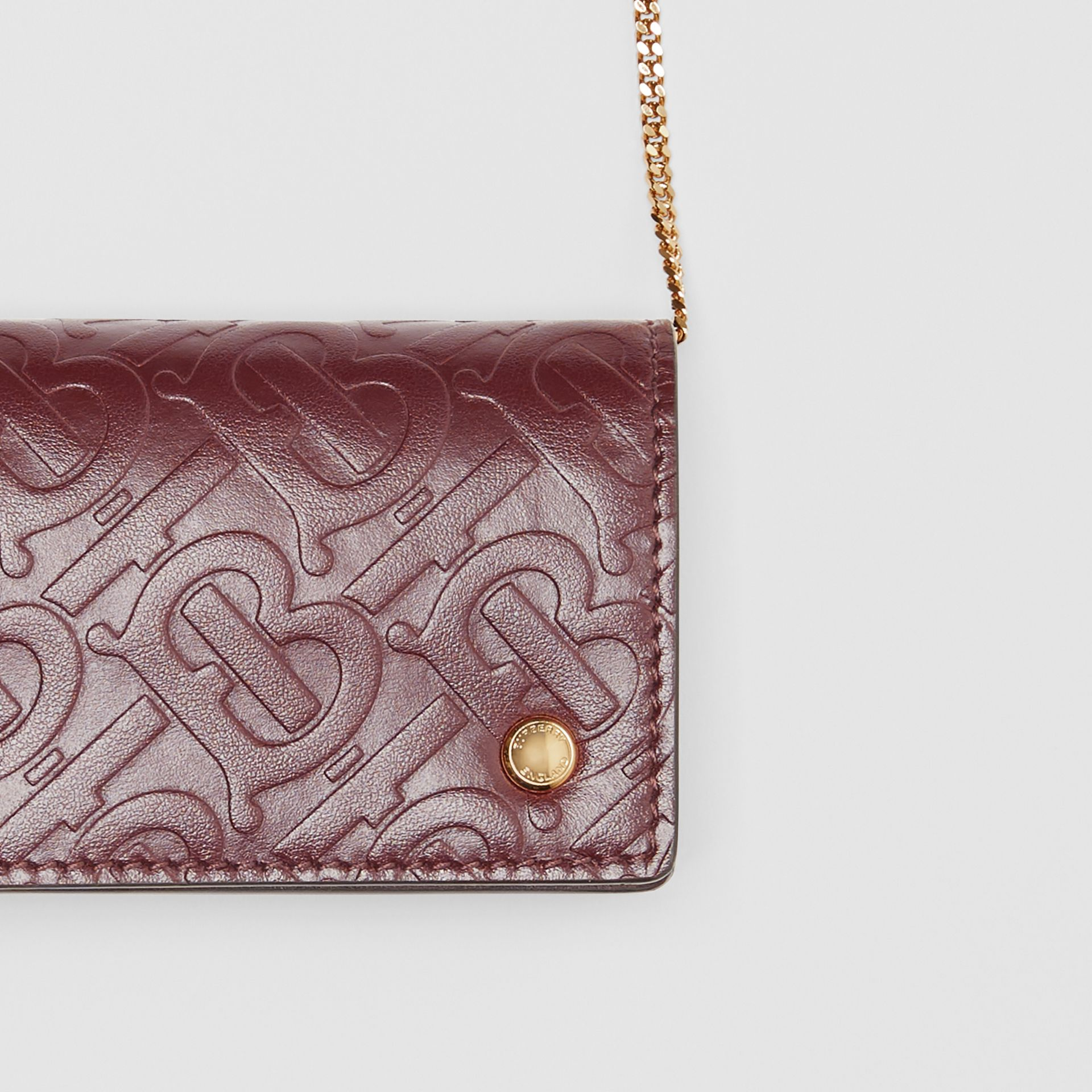 Monogram Leather Card Case with Detachable Strap in Oxblood - Women | Burberry - gallery image 1